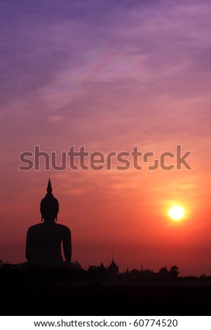 The Biggest Buddha Image In Thailand Under Sunrise