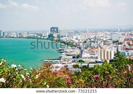 The Bird eye view of pattaya city, Thailand