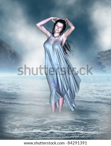 The birth of Venus the Goddess of Love from the foam of the sea shore, 3d digitally rendered illustration