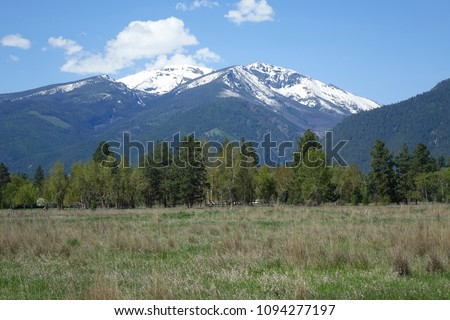 The Bitterroot Mountains provide a beautiful backgrouind in the Bitterroot Valley near Hamilton, Montana.
