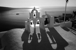 The black and white cityscapes of Santorini. Sunny Greece.