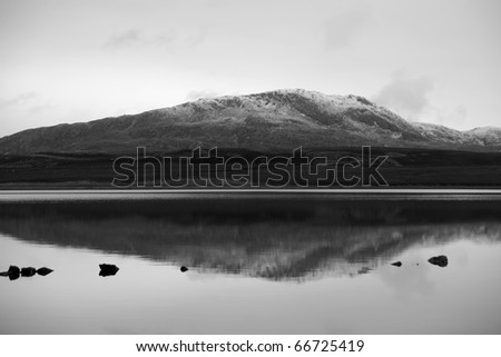 The black and white landscape of isle of Skye in Scotland - stock photo