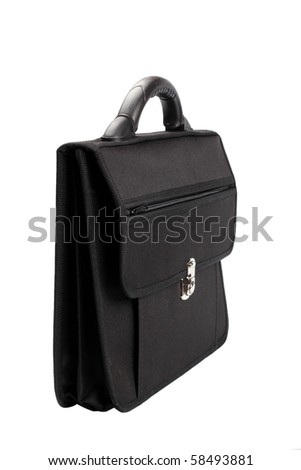 the black briefcase isolated on white background