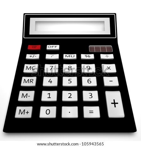 The black calculator on a white background