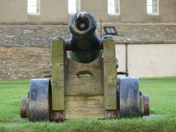 The black cannon on duty at Skaill House Mansion, overlooking the spectacular Bay of Skaill.