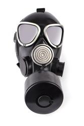 The black gas mask isolataded on white background