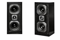 The black hi-fi sound speakers on white