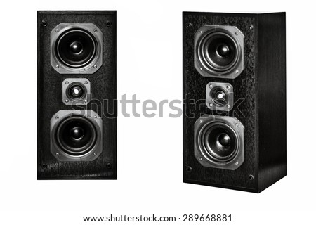 Stock Photo The black hi-fi sound speakers on white