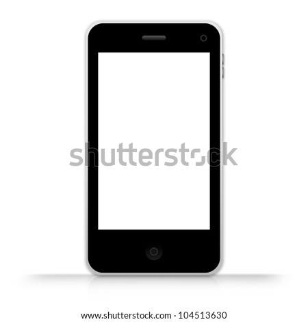 The Black Mobile Phone With Blank White Screen Isolate on White Background - stock photo