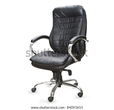 the black office chair on white background