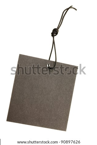 The black paper label isolated on a white background