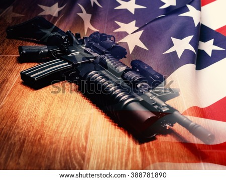 The Black Rifle with grenade launcher and U.S. flag