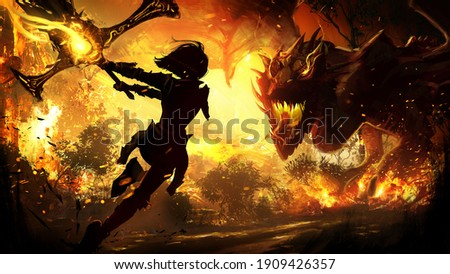 The black silhouette of a frail girl running to attack a sinister furious dragon with a huge sword at the ready, around the spark and scorch of the burned city . 2d illustration
