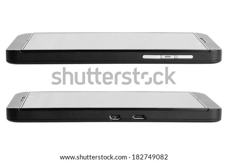 The black touch smartphone side view, with strict design for businessman. Phone on a white background, nobody.