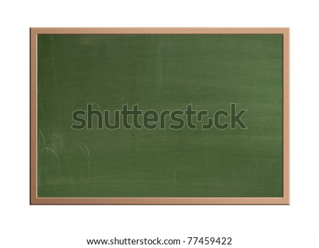 The blackboard in the classroom which was usually green, isolated with clipping path