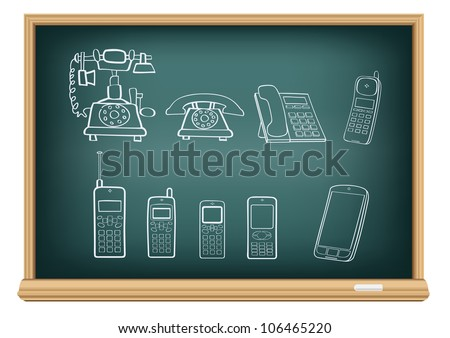 The blackboard with the drawn evolution of phones isolated on a white background