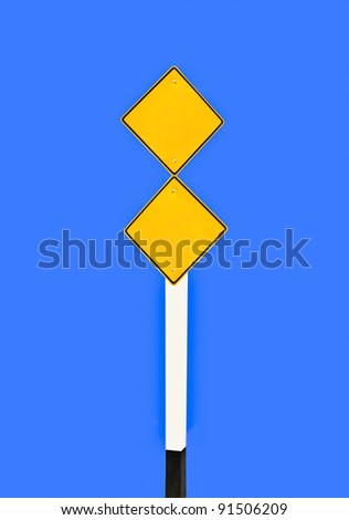 The Blank of guide post  isolated on blue background