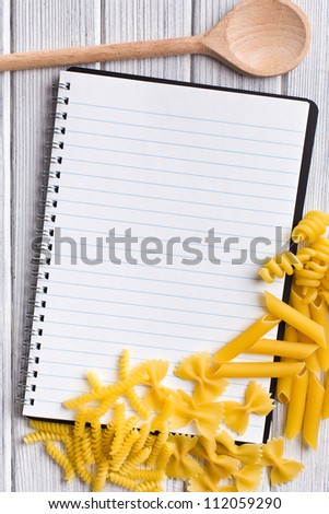 the blank recipe book with various pasta