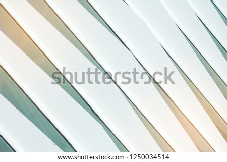 The blinds on the glass from the metal. Facade of glass and metal. Striped diagonal lines of light color. Modern design in architecture. #1250034514