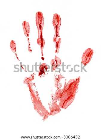 The bloody print left by a hand of the person. The image is isolated and placed on a white background.