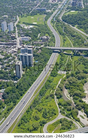 stock photo : The Bloor Street viaduct crossing the Don Valley Parkway.