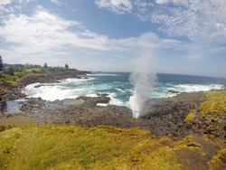 The Blowhole is a blowhole in the town of Kiama, Australia. Under certain sea conditions, the blowhole can spray water up to 25 meters in the air, in quantities that thoroughly drench any bystanders.