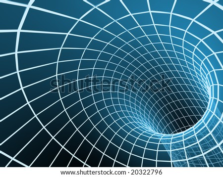 The blue abstract 3d tunnel from a grid - stock photo