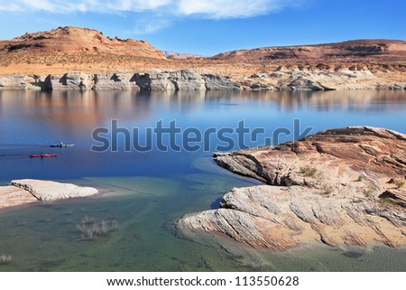 The blue and turquoise water in the desert rock. Bottling magnificent Lake Powell photographed by Fisheye lens
