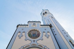 The blue church in Bratislava. Saint Elizabeth church view from a low angle perspective.