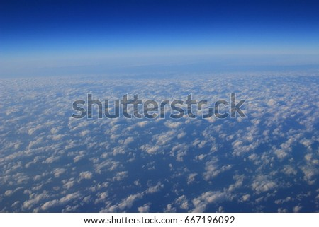 the Blue Cloud was taken on a plane for background #667196092