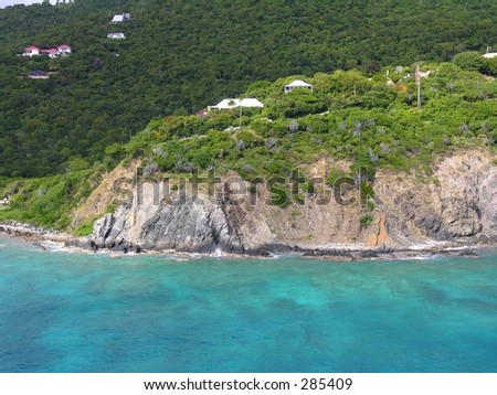 The blue coastline of Tortola / British Virgin Island