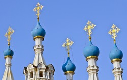 The blue domes and golden crosses of the Nativity Church at Putinki, one of the most picturesque  churches in Moscow.