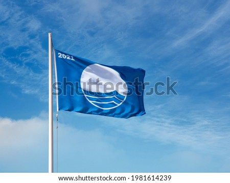 The Blue Flag 2021 is an international award for beaches and marinas. Photo stock ©