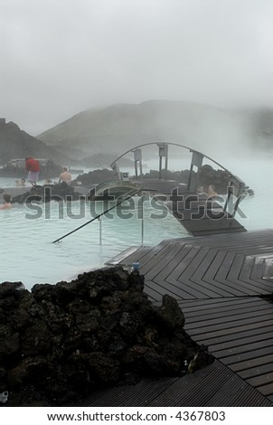 The Blue Lagoon, a geothermal bath resort in Iceland.