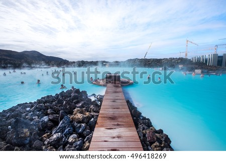 The Blue Lagoon geothermal spa is one of the most visited attractions in Iceland #496418269