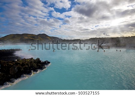 The Blue Lagoon on a sunny day in Iceland
