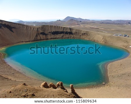 The blue lake in the crater of the Viti volcano in Iceland