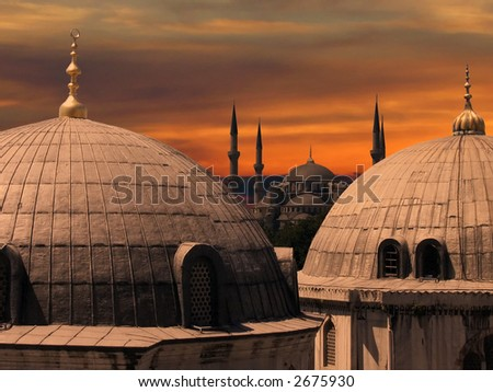 The Blue Mosque, in Istanbul, Turkey - stock photo