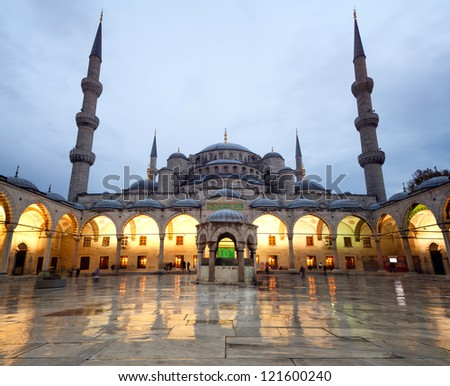 the blue mosque or Sultan Ahmed Camii / Sultanahmet Camii in istanbul, Turkey. people in the picture is not visible