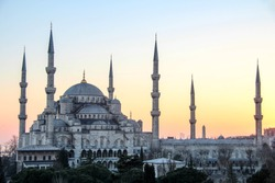 The blue mosque or Sultan Ahmed Mosque in Istanbul, Turkey