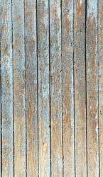 the blue old painted wooden fence, naturally weathered