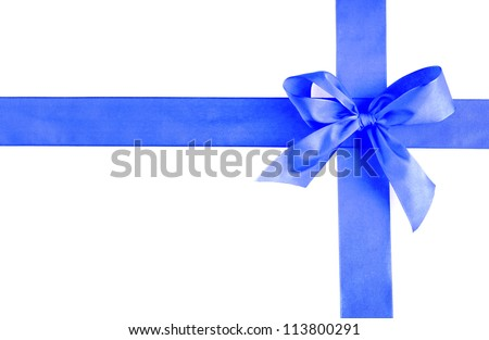 The blue ribbon an a white background