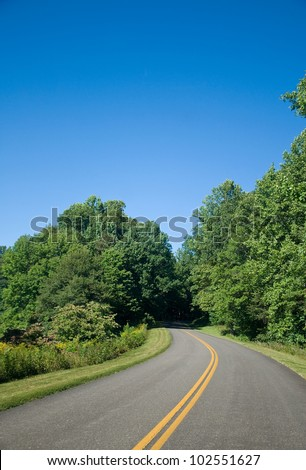 The Blue Ridge Parkway on a Clear Summer Day