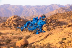 The Blue Rocks near Tafraoute Landscape next to the painted cliffs of Tafraout, in the Middle Atlas Mountains of Morocco