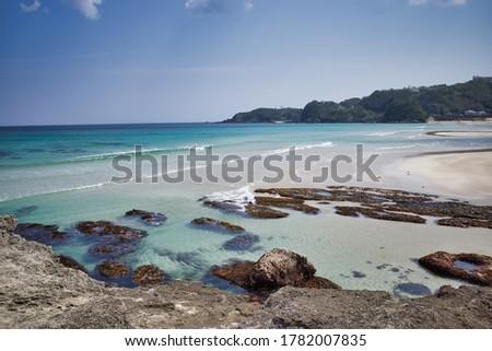 The blue sea and white sands of the Shirahama coast in Shimoda, Izu Zdjęcia stock ©