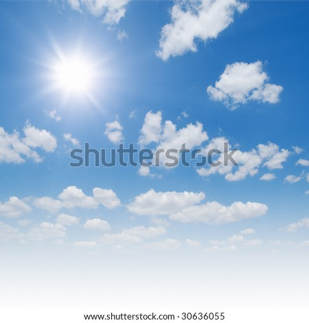 the blue sky and sun - stock photo