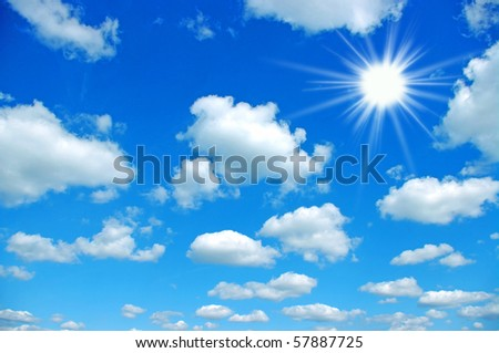 the blue sky and sun