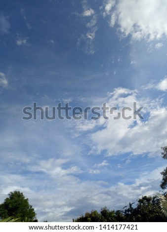 The blue sky is floating clouds. #1414177421