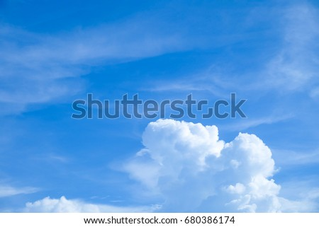 the blue sky with the cloud