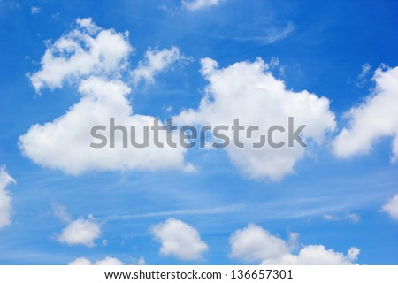 The blue sky with white cloud